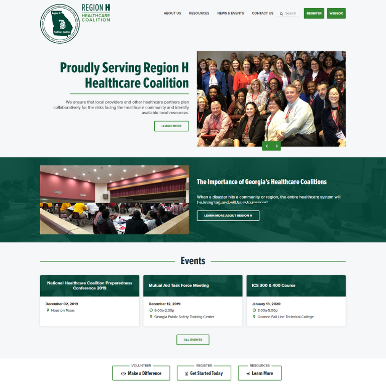 region h, region h healthcare, region h healthcare coalition, website development