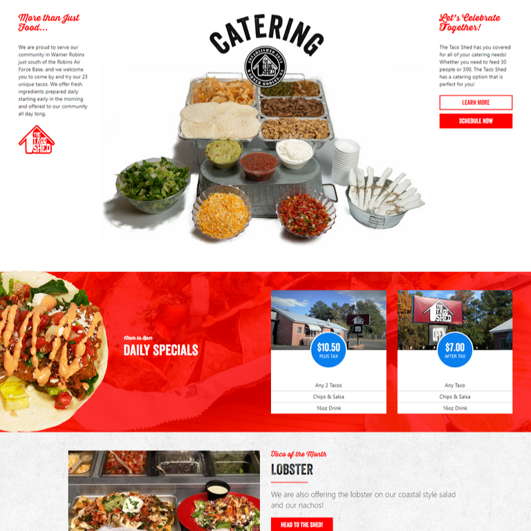 taco shed, warner robins, custom website, website development